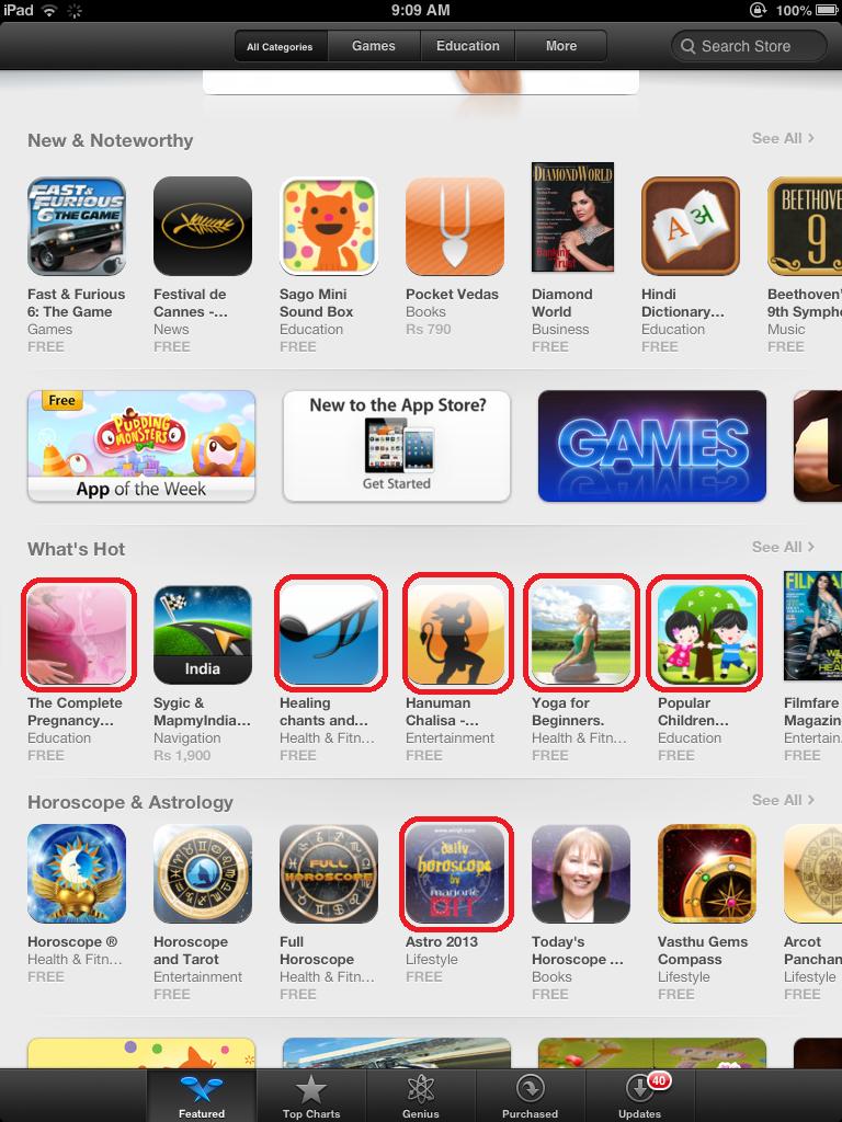 Winjit's apps amongst the top apps on Appstore